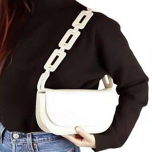 Melie Bianco Cream Chain Vegan Leather Shoulder Bag